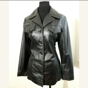 Wilson Maxima Black 100% Leather Jacket Size Large